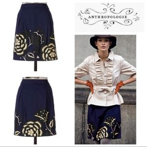Anthropologie Floreat Sufi Floral Applique Skirt
